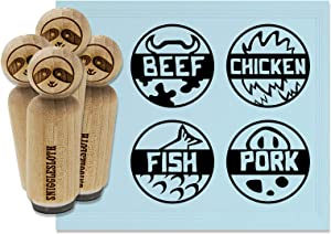 Food Label Beef Chicken Pork Fish Rubber Stamp Set for Stamping Crafting Planners - 3/4 Inch Small