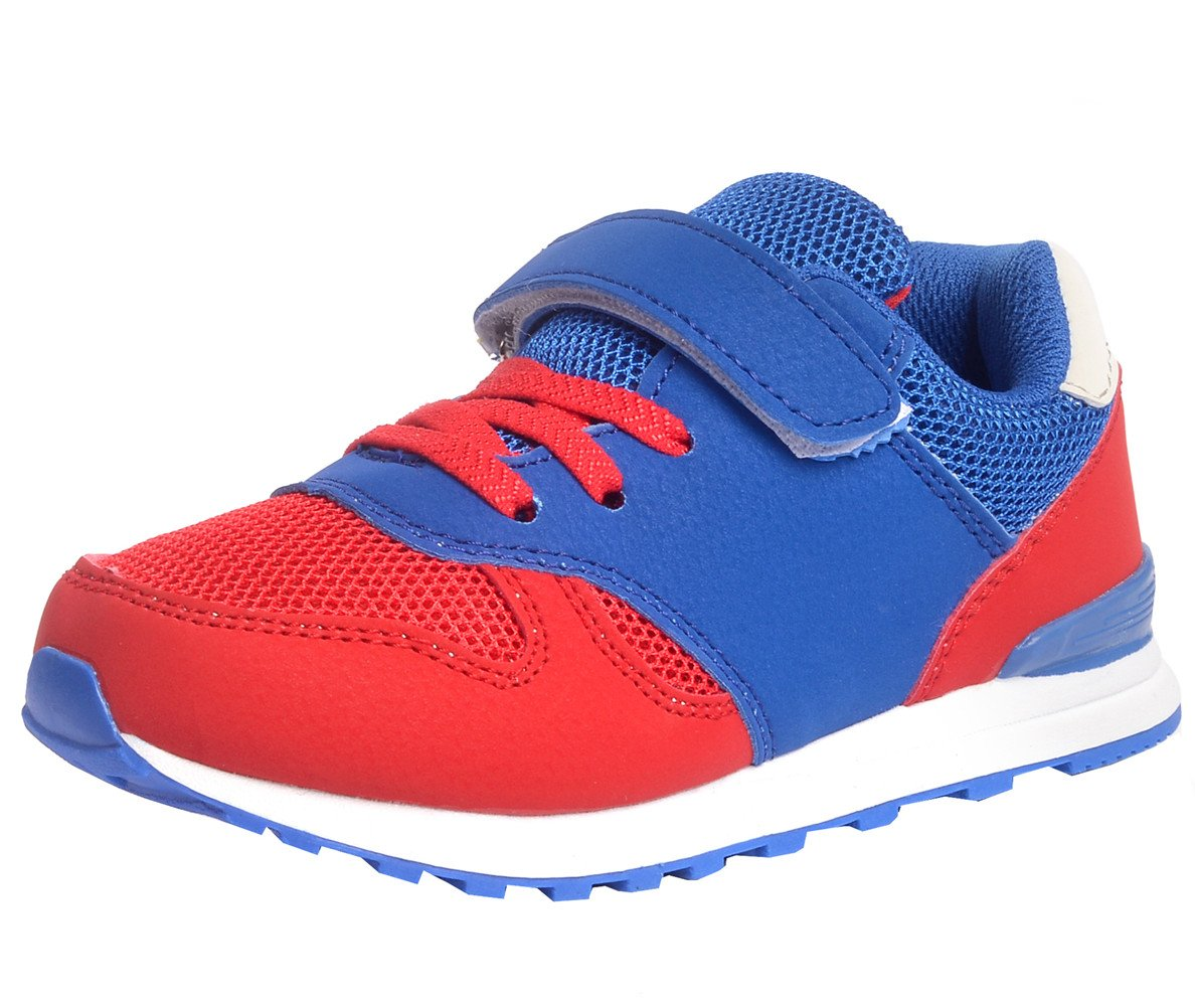 DADAWEN Kid's Outdoor Lightweight Breathable Mesh Sneakers Strap Athletic Running Shoes Blue US Size 2 M Little Kid