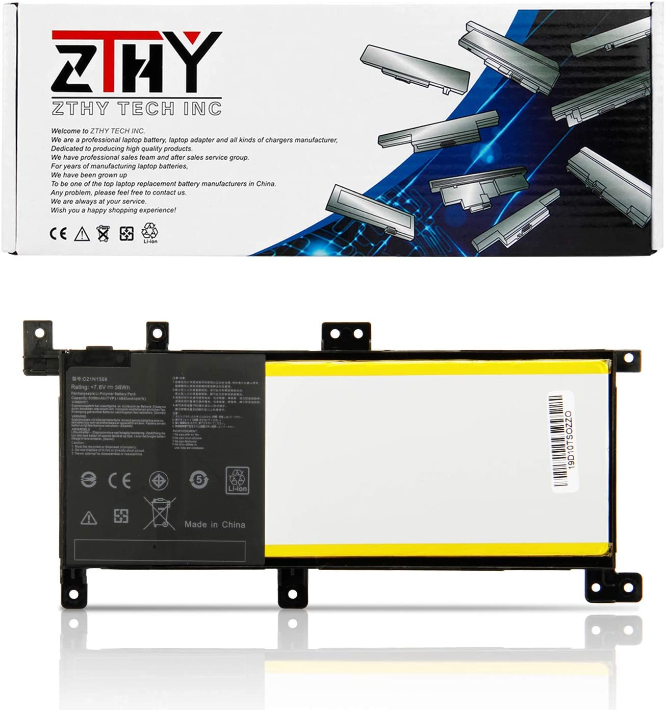 ZTHY 38Wh C21N1509 Laptop Battery Replacement for ASUS A556 A556U X556 X556UA X556UB X556UF X556UJ X556UQ X556UR X556UV K556 K556U Vivobook F556 F556U XO015T XO076T Series Notebook C21PQ9H 7.6V