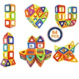 Soyee 64pcs Magnetic Blocks Educational Toys for 3+ Year Old Boys and Girls Stacking Kids Toys Magnetic Tiles Big Building Block Set Great STEM Toy Gift Idea for Todders