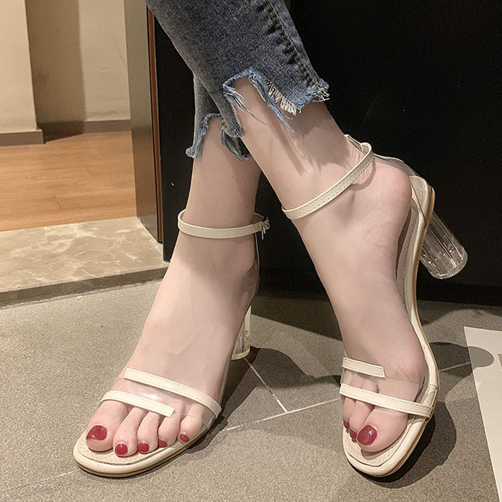 Lolittas Summer Open Toe Sandals High Block Heeled Strappy Women Ladies Shoes Comfy Fit Lace UP Peep Toe Cushion Slingback Size 3-7