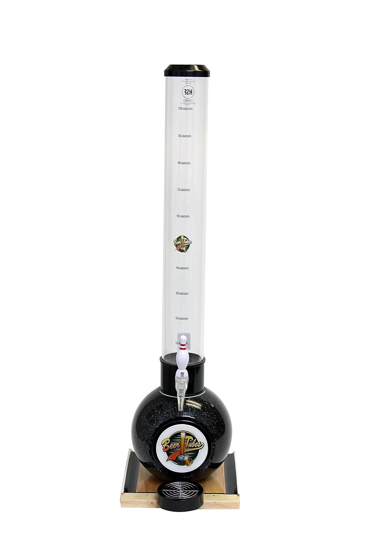 Beer Tubes BOW-32-BO Beverage Dispenser with Bowling Pin Tap, Bowling Ball Base, 100 oz, Black