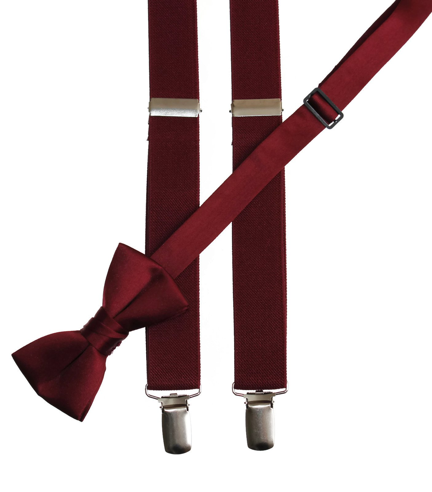 Matching Burgundy Adjustable Suspender and Bow Tie Sets, Kids to Adults Sizing (25'' Toddlers Ages 2-5)