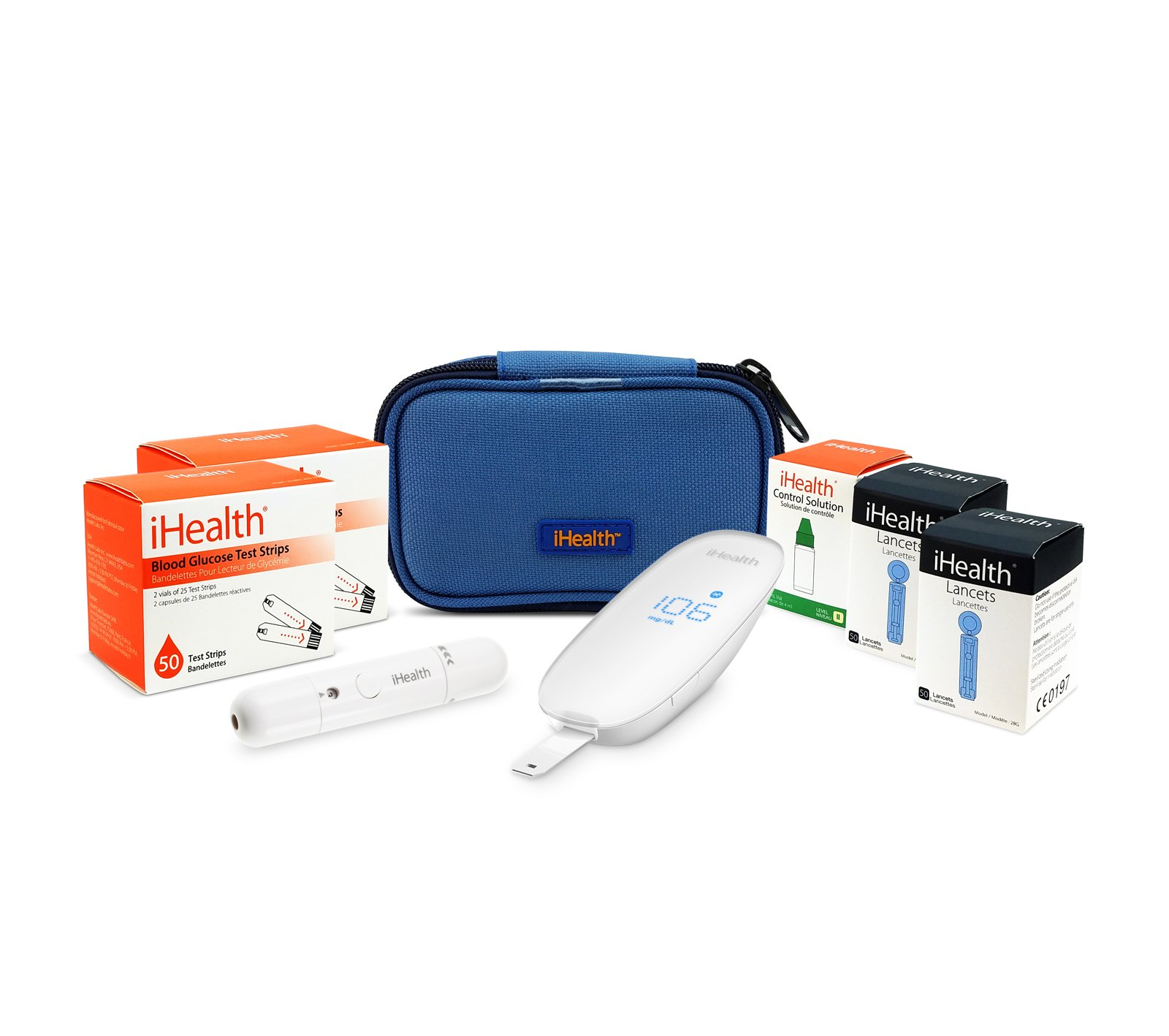 iHealth Smart Wireless Gluco Monitoring with 100 Test Strips, 100 Lancets, and Control Solution