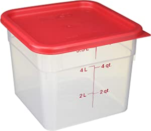 Cambro 6SFSPP190 CamSquare Storage Container, Translucent, 6 qt with Lid, 6 Quart, Clear, Red