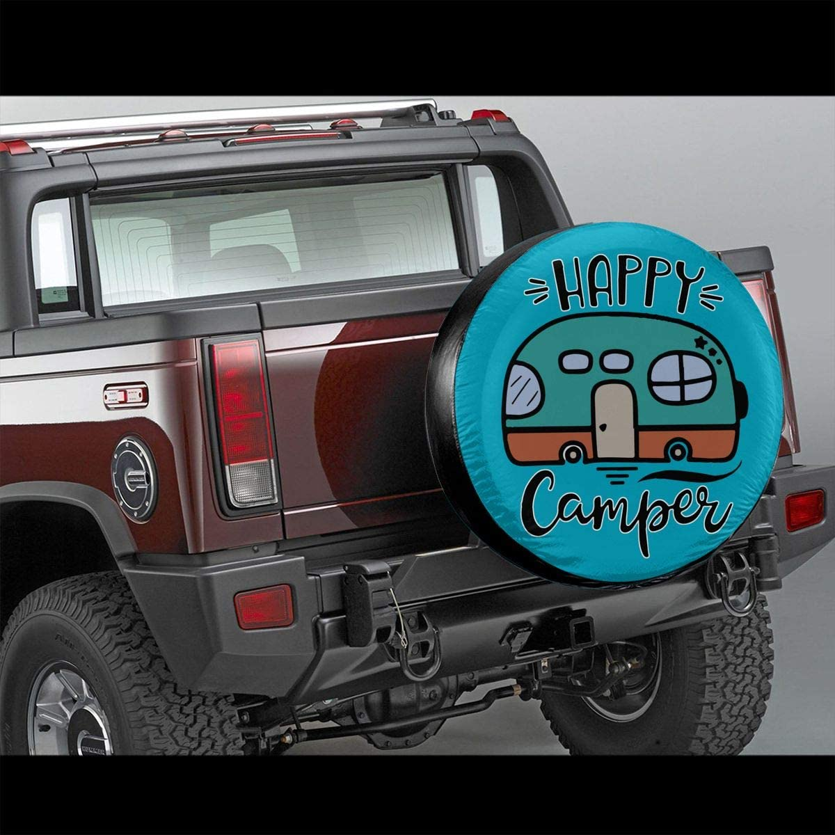 RV SUV and Many Vehicle 14 15 16 17 PINE-TREE-US Happy Camper Funny Spare Wheel Tire Cover Waterproof Dust-Proof Fit for Trailer