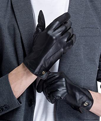 43c833125667a CHULRITA Men Genuine Leather Driving Winter Gloves with Wool Lining (Black