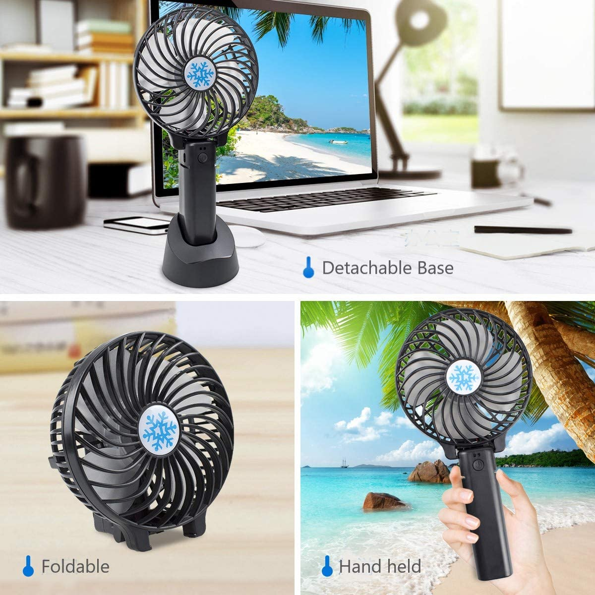 HUSAN Hand Held Fan, Portable Mini Foldable Cooling Desk Fan 3 Speeds USB Rechargeable Battery Operated Fan with Base for Home Office Travel (Black) Black