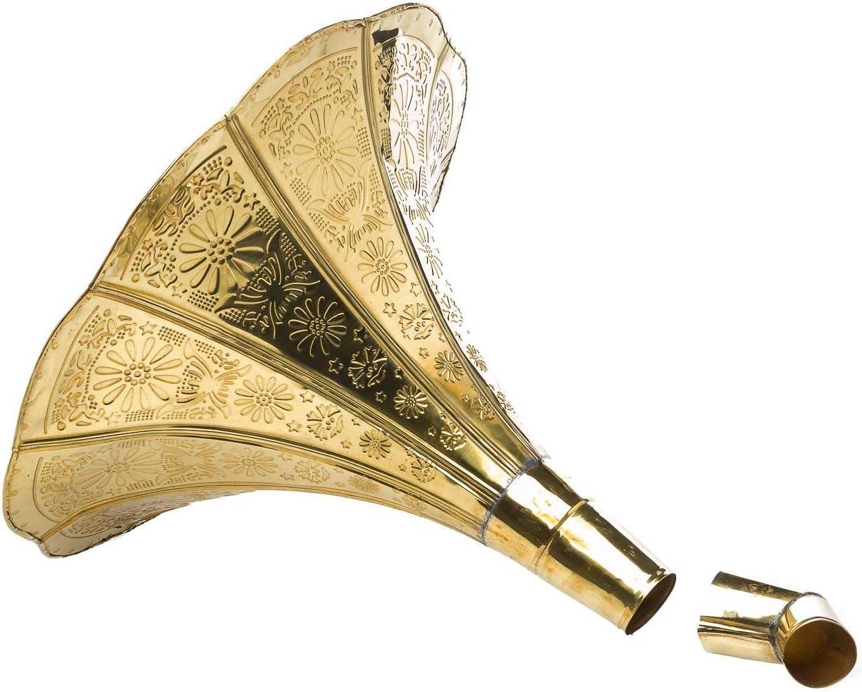 Horn grammofono tromba con ornamenti doro in stile antico