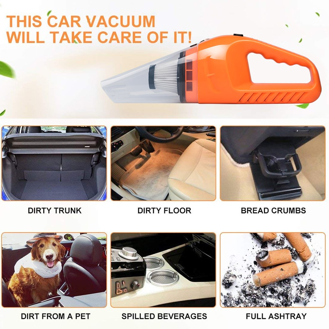 Car Vacuum Cleaner DC 12V Wet Dry Auto Dustbuster Portable Handheld Auto Vacuum Cleaner for Car 4000Pa Suction 120W Car Hoover with HEAP Filter & 5 Meters/16.4 FT Power Cord(1 Yr Warranty) Orange by candyfouse (Image #4)