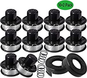 "SUSA Weed Eater Replacement Spools - for Black and Decker ST4500 Bump Feed Spool - Replace RS-136, RS-136-BKP, RS136-20ft 0.065"" String Trimmer Line (10 Spools, 2 Caps, 2 Springs)"
