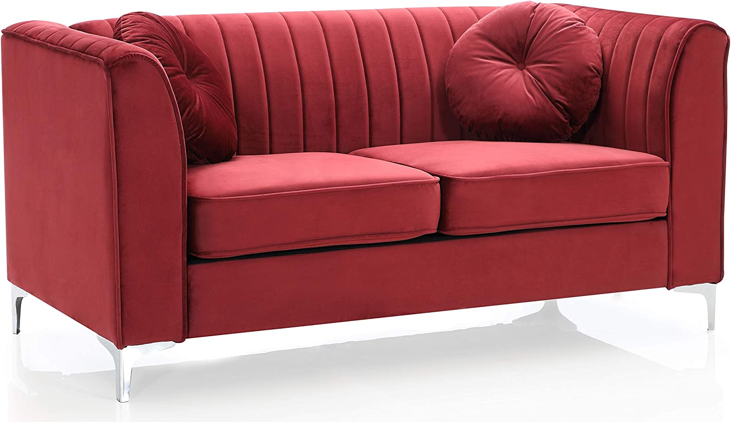 Glory Furniture Delray , Burgundy Loveseat (2 Boxes), 2 Seater