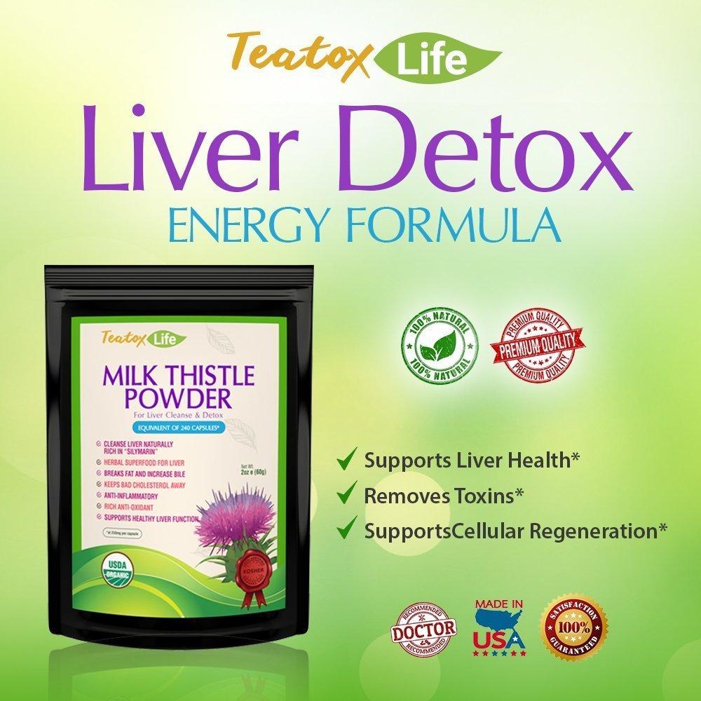 Amazon.com: Cardo de Leche para Hígado Detox Cleanse y apoyo ...