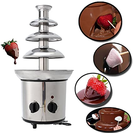 JoyGlobal Stainless Steel Chocolate Fondue Fountain Machine, Silver