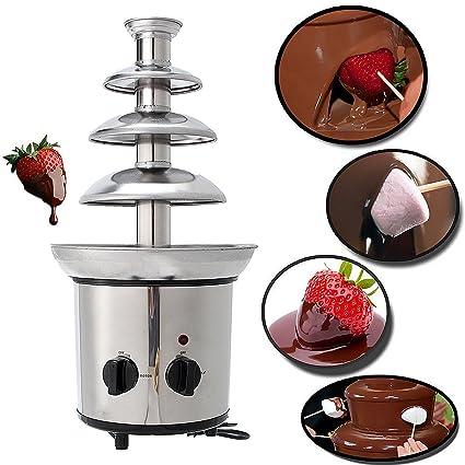 JoyGlobal Stainless Steel Chocolate Fondue Fountain Machine, Silver