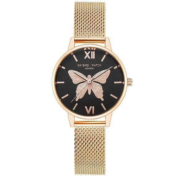 RORIOS Relojes de Mujer Hermoso Mariposa Dial Pulsera Acero ...
