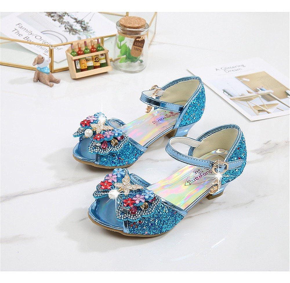 SUNNY Store Little Girls Rhinestone Glitter Heeled Open Toe Gladiator Sandals