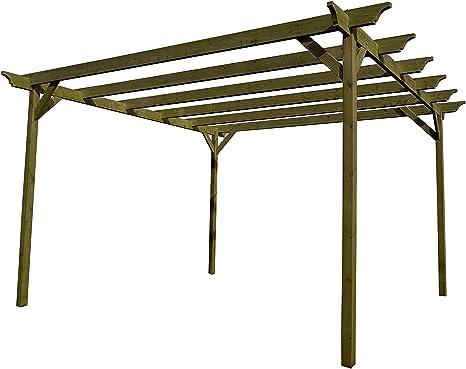 GMS TIMBER LTD Champion - Kit de pérgola de jardín de Madera - Exclusiva Gama de pérgola - más Grande en Amazon - Acabado Verde Claro o marrón rústico