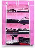 Cmerchants High Fiver Metal 4 Shelf Collapsible Multipurpose Wardrobe/Shoe Rack (Portable, Multipurpose) New Pink.