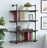 Homissue 4-Shelf Rustic Pipe Shelving Unit, 31.5-Inch Vintage Industrial Metal Bookcases, Espresso-Brown