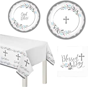 Inspirational Religious Party Supplies for 18 People | Plates Napkins Tablecover | Baptism Holy Communion Confirmation Dedication | Blessed Holy Day Cross Design