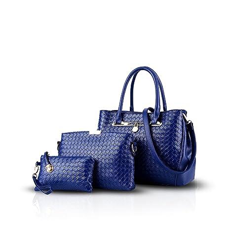 NICOLE&DORIS nuevo de las mujeres del bolso de hombro de 3 pedazos bolso de cuero bolsa de asas del monedero de la PU bolsas del conjunto(Blue)