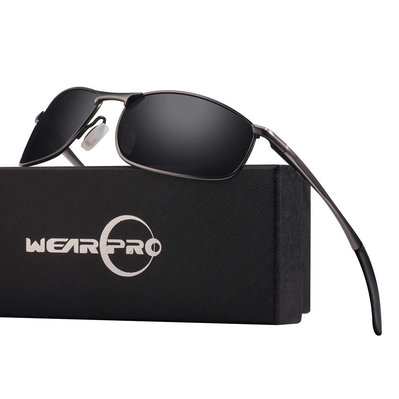wearPro Gafas de sol con montura metálica metalizada hombre HD Lentes de sol con lente HD para mujer WP1015