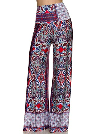 On Trend Women's High Waist Wide Leg Pattern Palazzo Pants At Amazon Inspiration Palazzo Pants Pattern