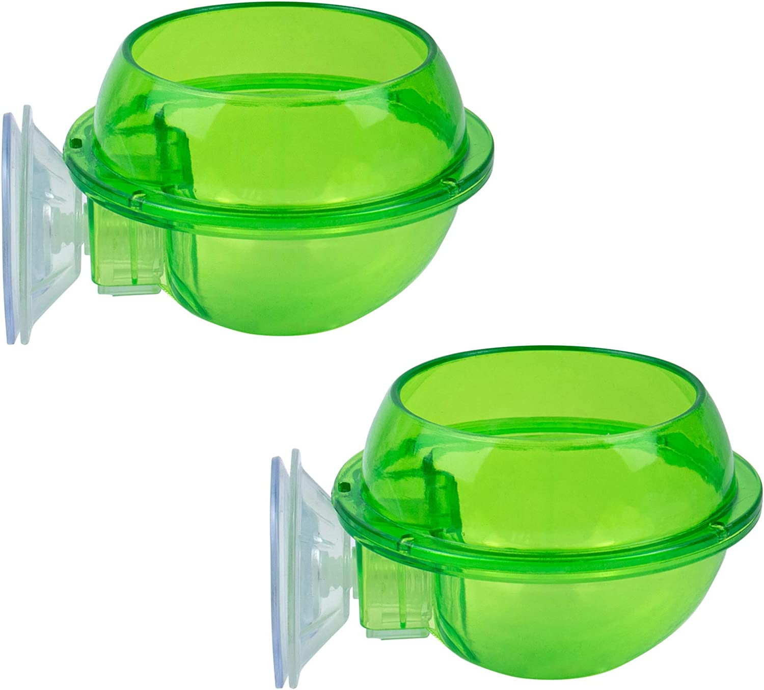 AUEAR, 2 Pack Reptile Suction Cup Feeder Chameleon Feeding Food Bowl Water Dish Gecko Ledge Supplies Accessories for Gecko Lizard Bearded Dragon