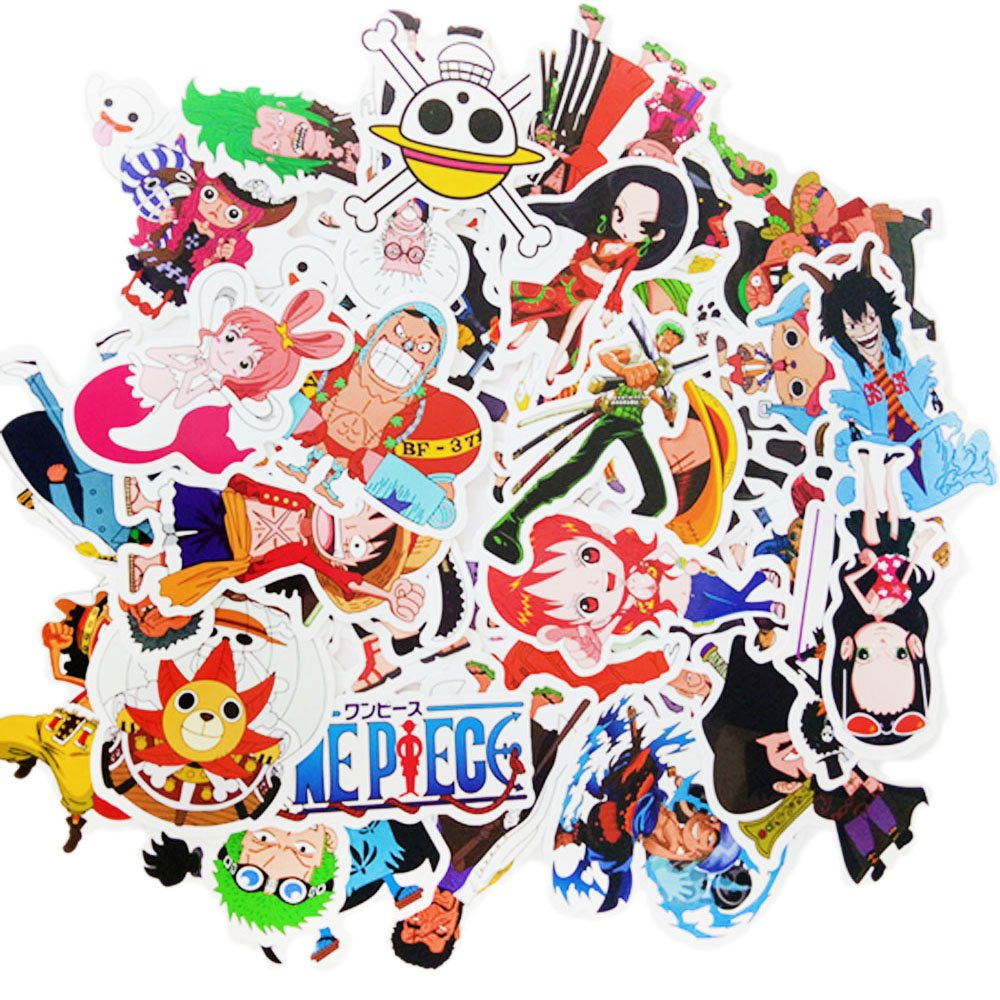 Amazon com dofe one piece stickers 48 pcs laptop stickersmotorcycle bicycle luggage decal graffiti patches for teens 48 pcs one piece stickers