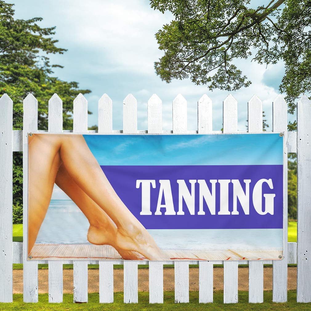 Set of 2 28inx70in Multiple Sizes Available Vinyl Banner Sign Tanning Business Style R Business Tanning Marketing Advertising Blue 4 Grommets