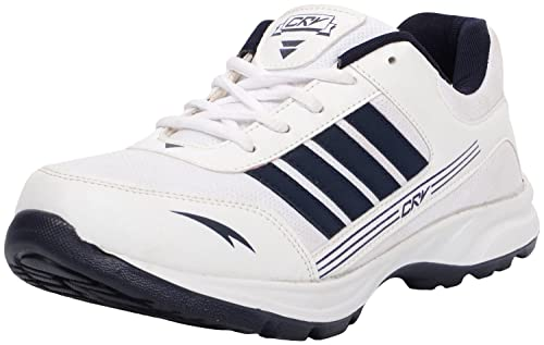 cee10e9b0777 crv Men s A206 White Blue Rexine Sports Shoes 10 UK  Buy Online at ...
