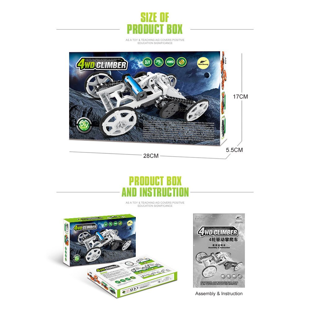 Mochoog STEM 4WD Electric Mechanical Assembly Gift Toys Kit | Intro to Engineering, DIY Climbing Vehicle, Circuit Building Projects for Kids and Teens | DIY Science Experiments Using Real Motor by Mochoog (Image #6)