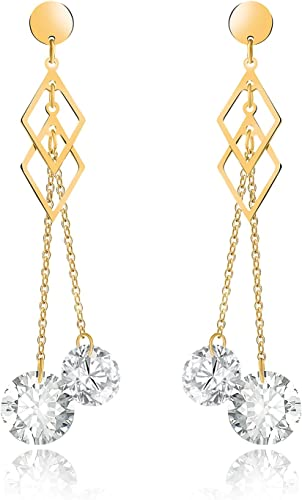 Womens Yellow Gold Filled Cube Crystal Long Tassel Dangle Drop Hoop Earrings