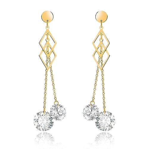 Amazon.com: Pendientes colgantes de diamante de acero ...