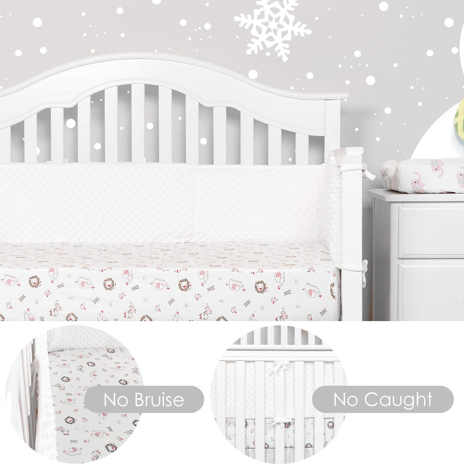 TILLYOU Luxury Micro Fleece Thick Crib Bumper Pads for Winter- Ultra Soft Plush /& Fitted for Standard Cribs Christmas Theme with Embroidered Reindeer and Santa Claus Warm Lace Trim for Girls
