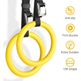 YISSVIC Professional Gymnastic Rings Premium and Professional Gymnastics Fitness Exercise Rings Yellow 2 Pack with Straps