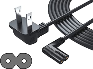 Pwr+ Extra Long 12 Ft 2-Prong AC Wall 2 Slot Power Cord L-Type IEC320 C7 (Figure 8) for Samsung LED LCD TV Smart Monitor, Xbox One-S X, PS4 Console Cable - 3903-000853 3903-000599