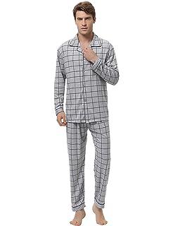 Aibrou Pijama Hombre Invierno de Algodón 2 Piezas Pijamas Manga Larga para Hombres Pantalones Largos Patrón de Cuadros: Amazon.es: Ropa y accesorios