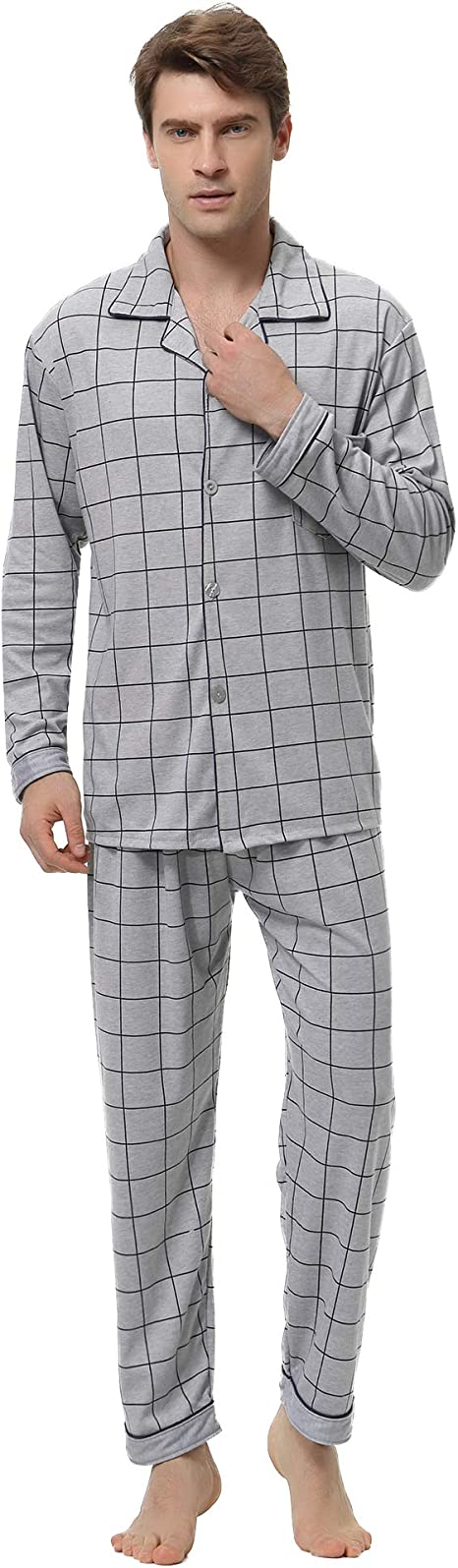 Aibrou Pijama Hombre Invierno Algodón, Pijamas de casa con ...