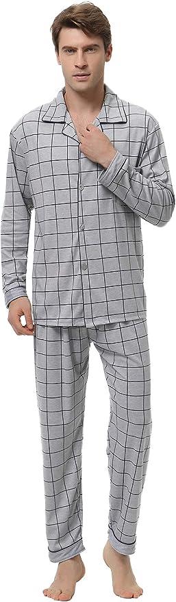 Aibrou Pijama Hombre Invierno Algodón, Pijamas de casa con Boton Ropa de Dormir Casual 2 Piezas Suave y Cómodo: Amazon.es: Ropa y accesorios