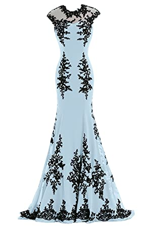 Poplarboy Damen Langes Applikation Ärmellos Meerjungfrau A-Linie Chiffon  Abendkleider Festzugkleider Abschlussball Kleider Arautjungfer Kleider
