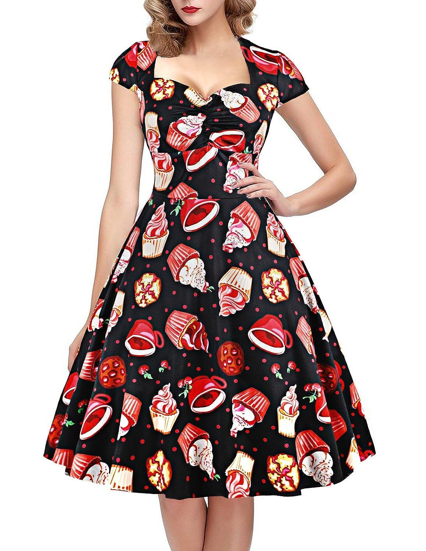 TALLA XL. oten Vestido de Fiesta de Rockabilly del Estampado del cráneo del azúcar Floral de la Navidad de la Navidad Mujeres Cake XL