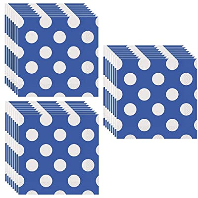 Royal Blue Polka Dots Party Lunch Napkins - 48 Pieces: Toys & Games