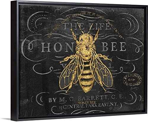 Honey Bee Black Float Frame Canvas Art