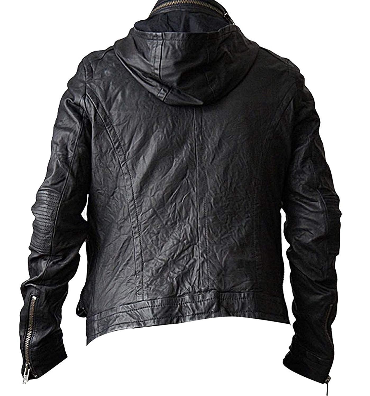 Mens MI 4 Ghost Cruise Biker Protocol Hooded Leather Jacket ...