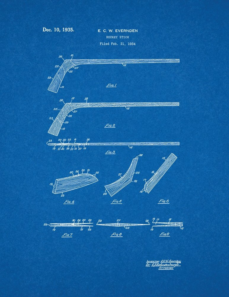 Amazon hockey stick patent print art poster blueprint 85 x amazon hockey stick patent print art poster blueprint 85 x 11 posters prints malvernweather Image collections