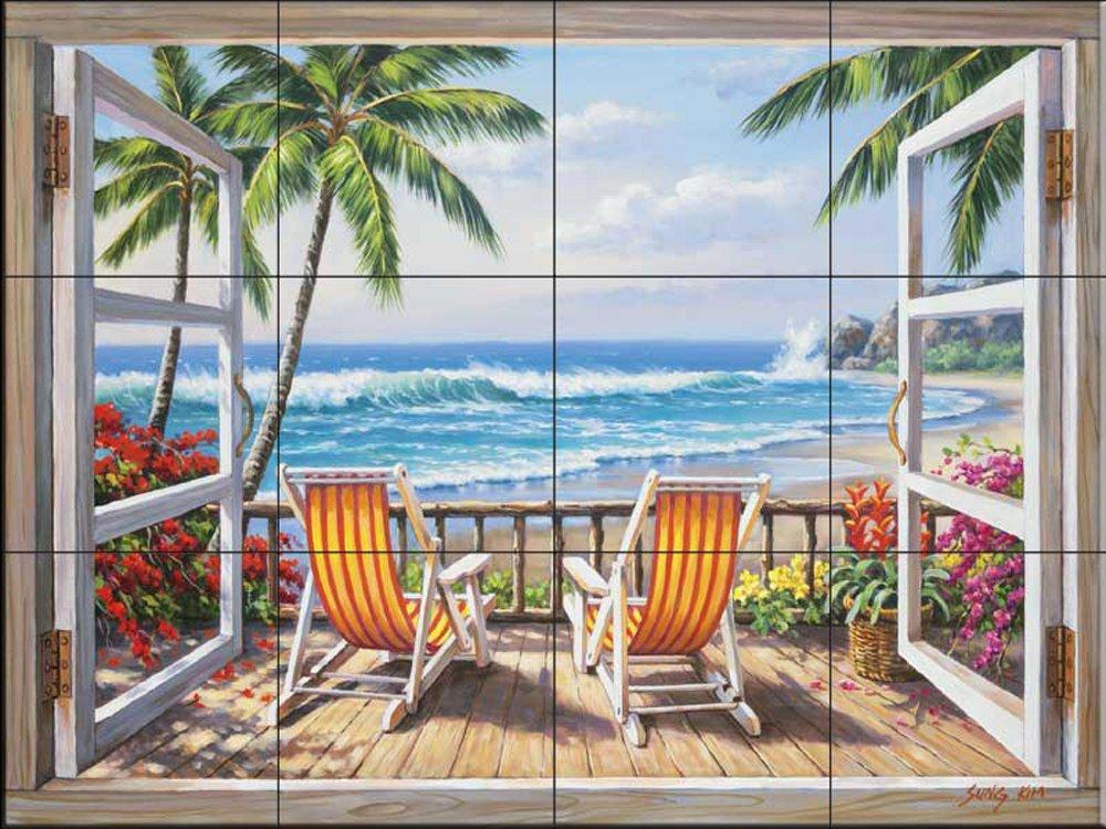 Ceramic Tile Mural - Tropical Terrace - by Sung Kim - Kitchen backsplash/Bathroom Shower
