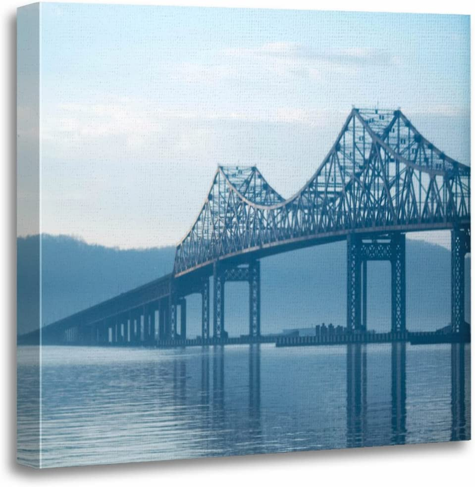 "TORASS Canvas Wall Art Print York Tappan Zee Bridge NYC Bridges Architecture Photography Artwork for Home Decor 20"" x 20"""