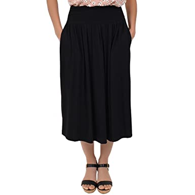 92f6275380d Stretch is Comfort Women s Plus Size Midi Pocket Skirt at Amazon Women s  Clothing store